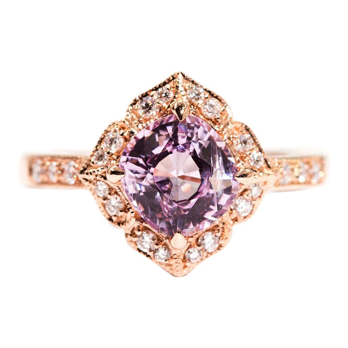 1.97 Carat Cushion Cut Pink Spinel and Diamond 18 Carat Rose Gold Halo Ring