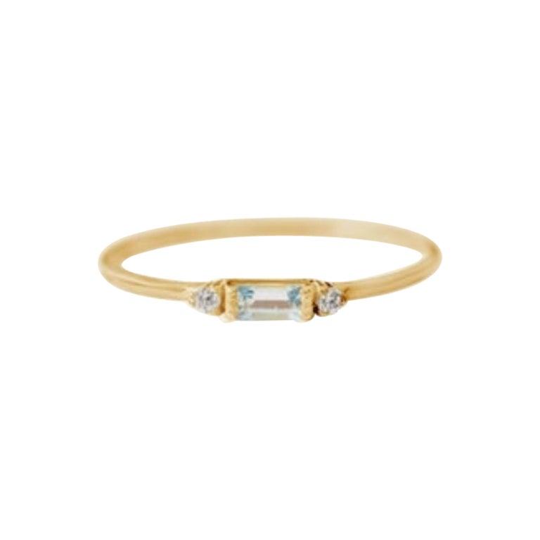 Delicate Slim Aquamarine Baguette Ring, Stackable Ring, Valentines Gift, 18k