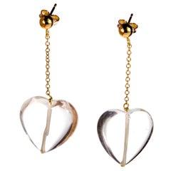 Big Heart Crystal Rock 18 Karat Yellow Gold Dangle Chic Valentine's Day Earrings