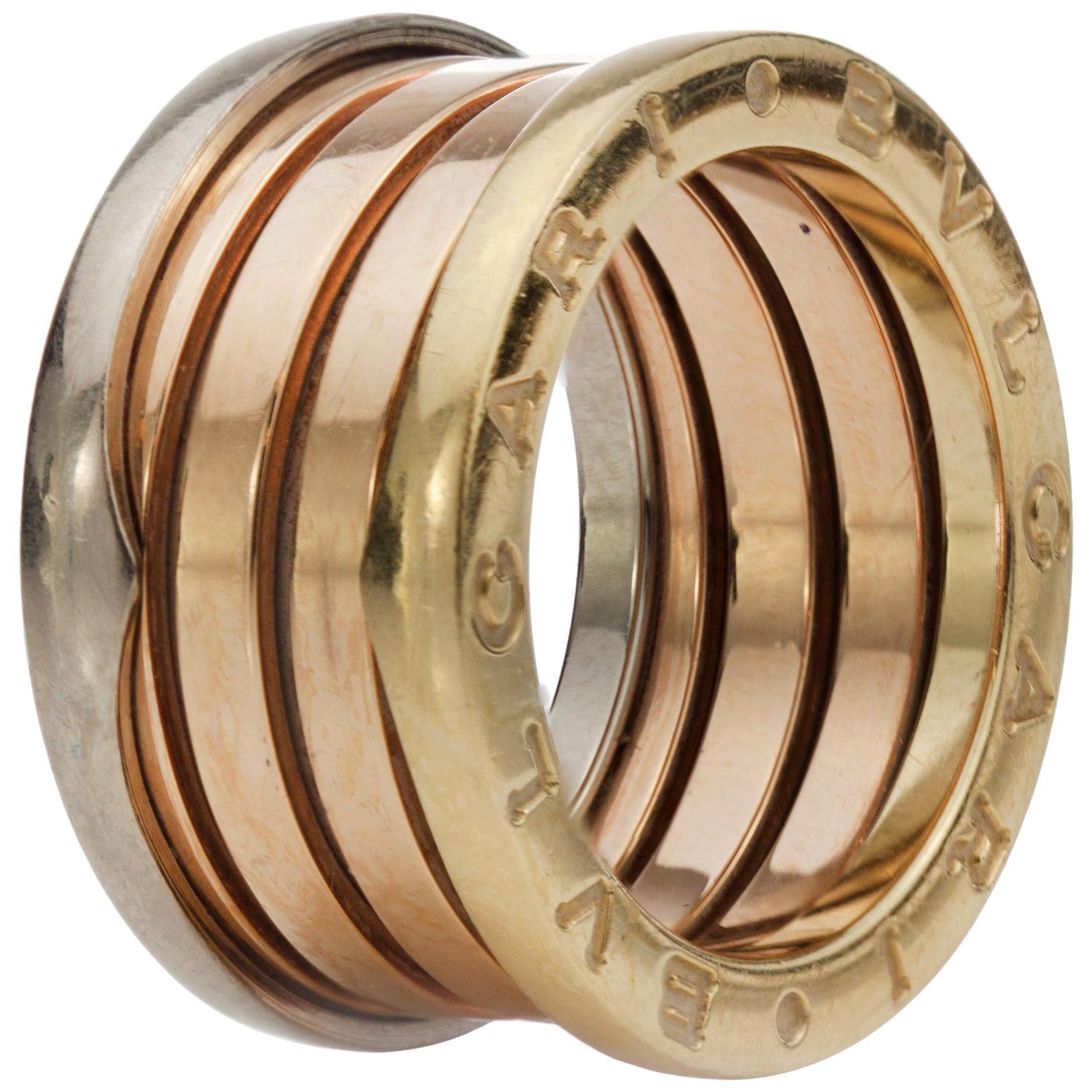 Bvlgari B.Zero 18 Karat White, Yellow and Rose Gold Ring