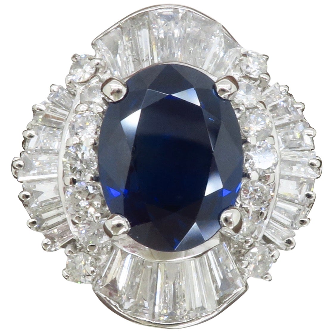 Incredible Blue Sapphire and Diamond Ballerina Style Ring Made in Platinum