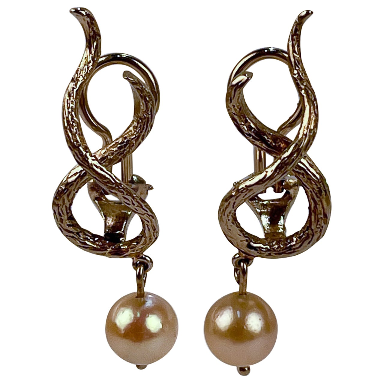 14 Karat Gold and Pearl Clip-On Earrings