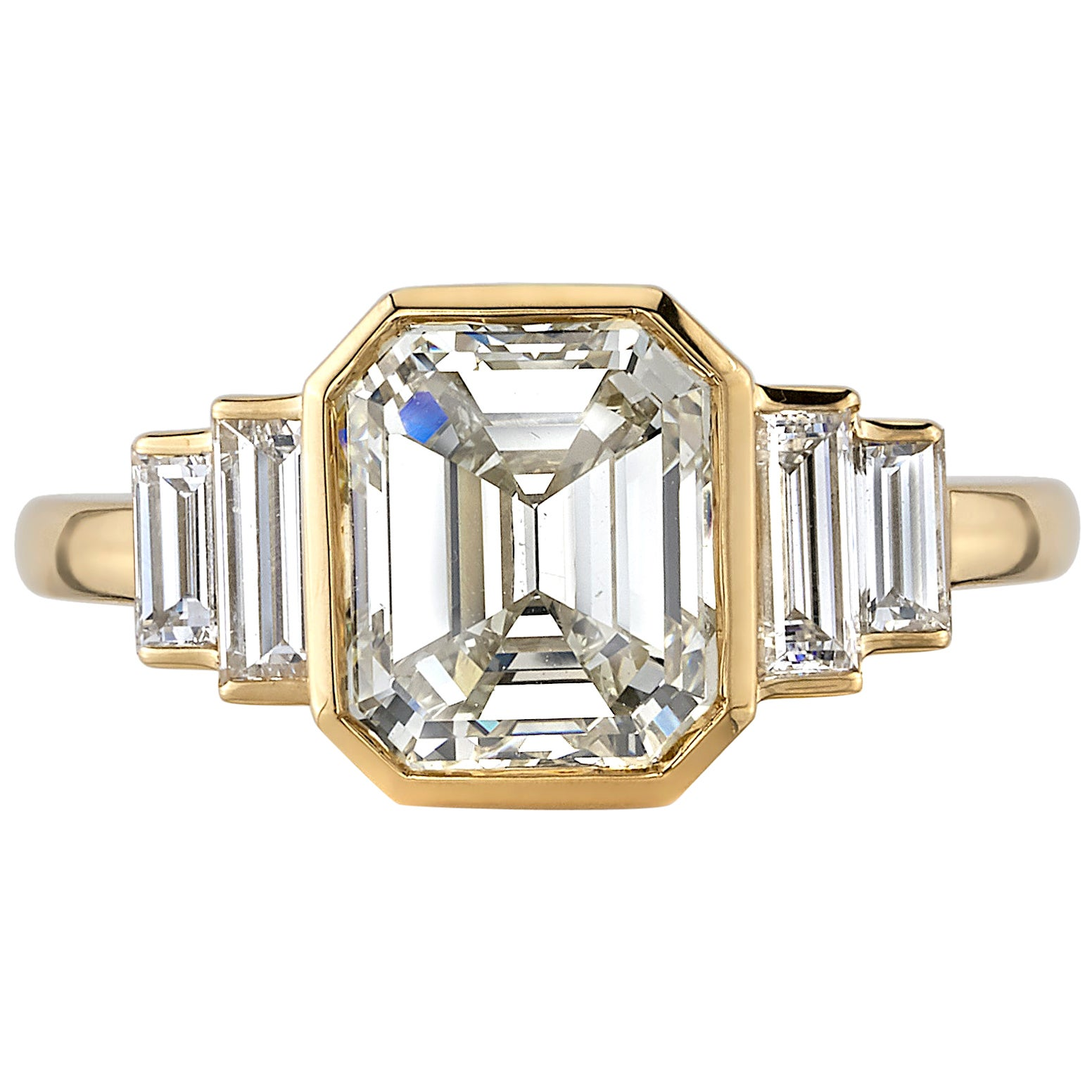 3.01 Carat Emerald Cut Diamond Set in a Handcrafted 18 Karat Yellow Gold Ring