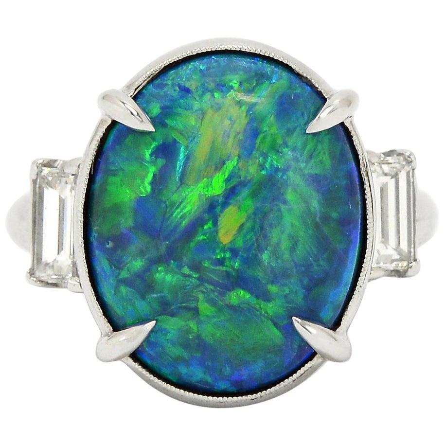 Estate Art Deco Black Opal Engagement Ring Platinum Cocktail Ring Three Stone