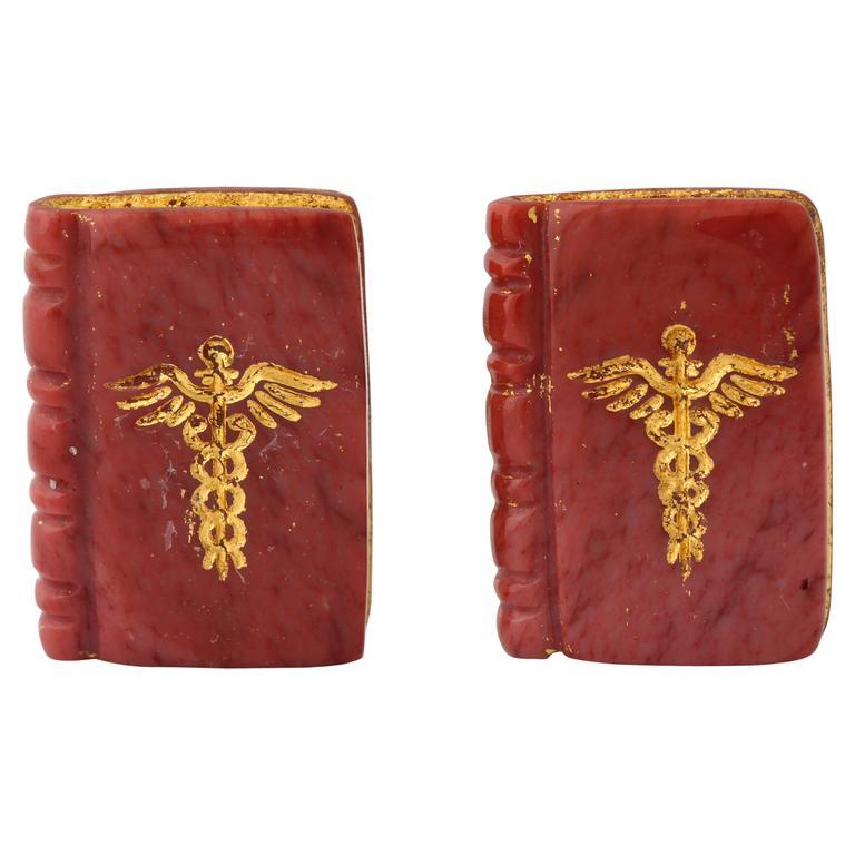 Michael Kanners Gold Inlaid Caduceus Book Cufflinks