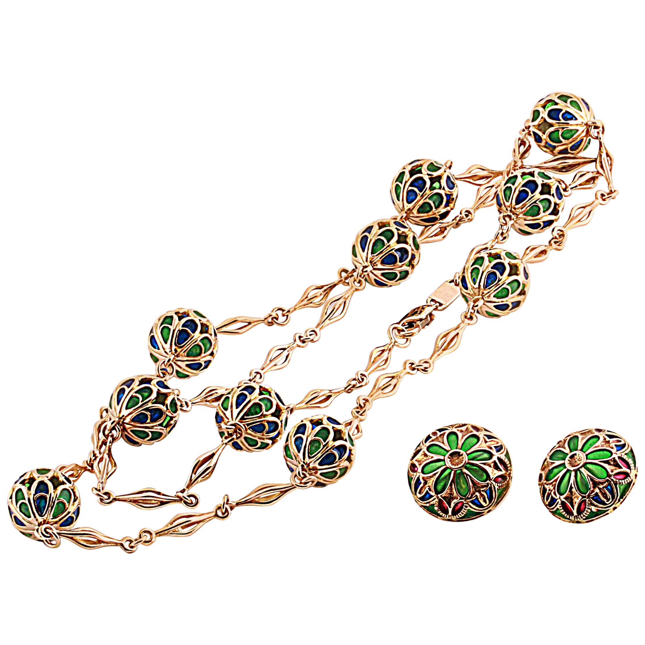 18 Karat Yellow Gold and Cathedral Enamel Demiparure