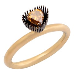 Melt Her Heart with Heart Shaped Colored Diamond One of a Kind Gold Ring