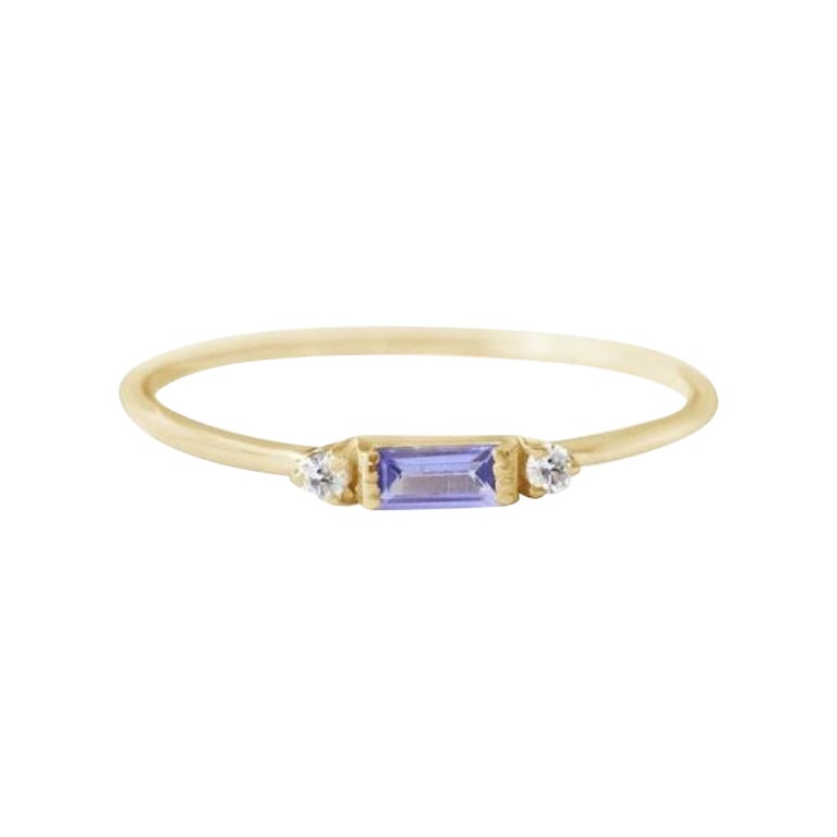 Tanzanite Ring,18 Karat Gold Ring, Dainty Minimalist Band, Wedding Anniversary