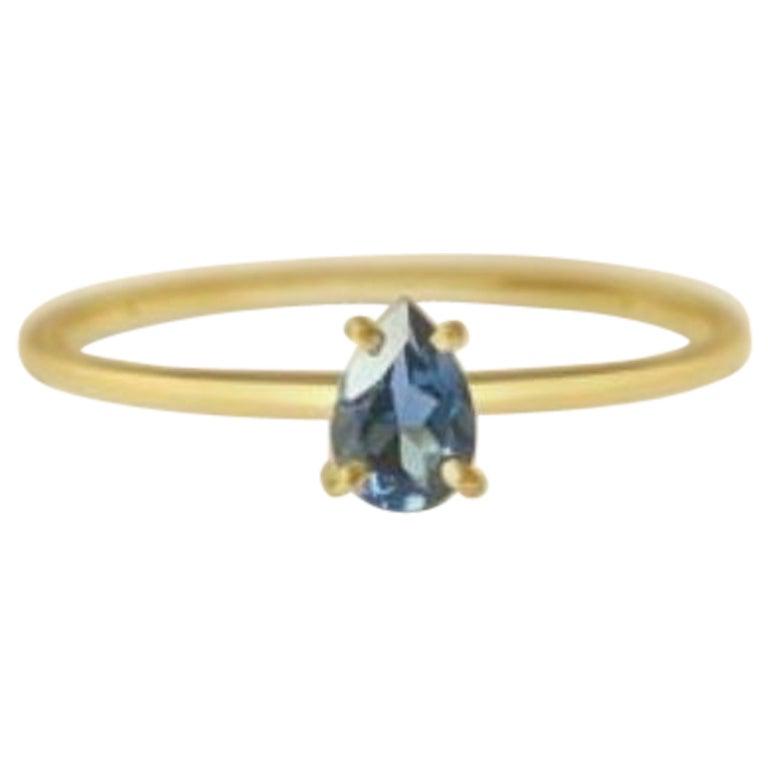 London Blue Topaz Gold Ring, Birthstone Ring, Engagement Ring, Teardrop Topaz