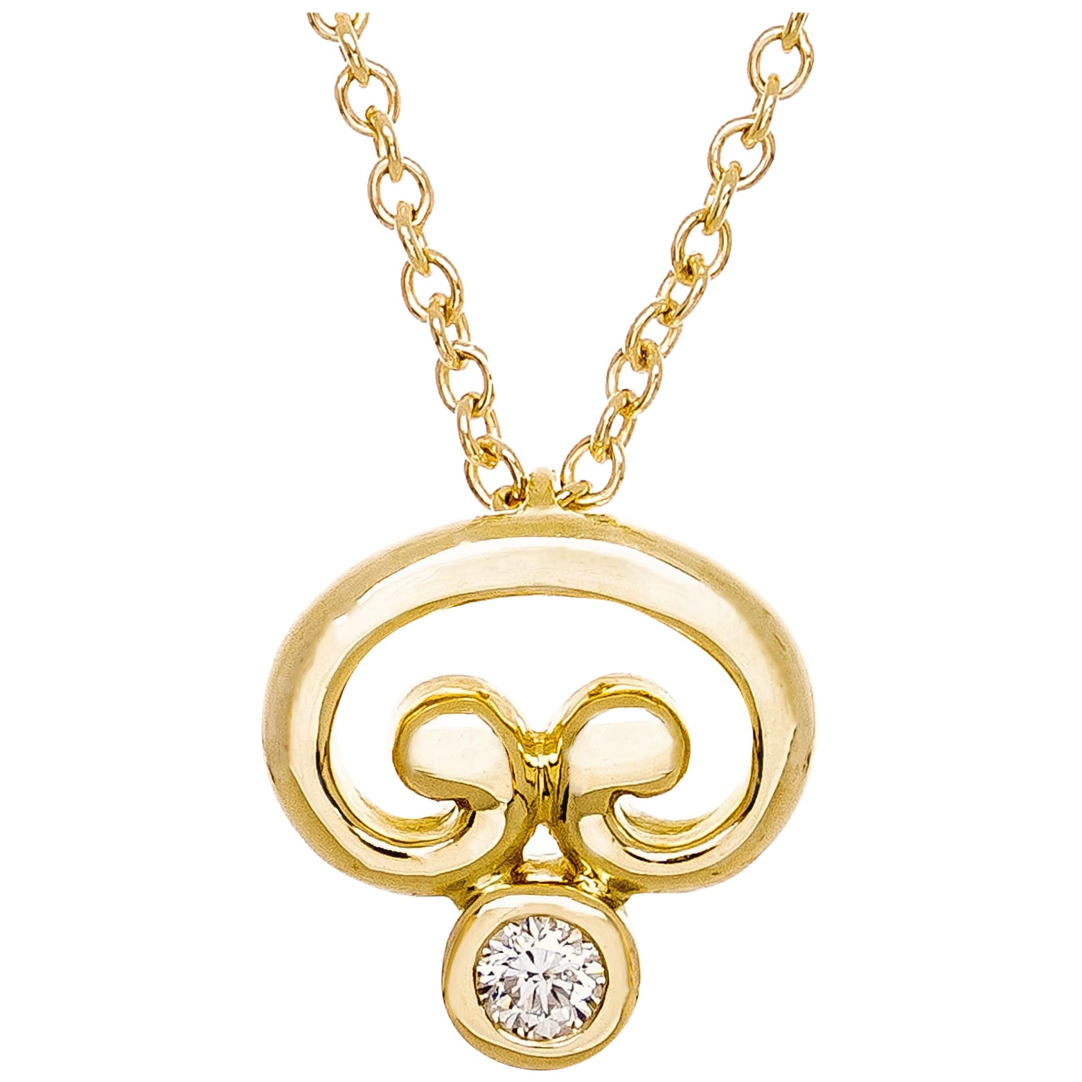 .15 Carat Diamond Yellow Gold Freeform Pendant Necklace