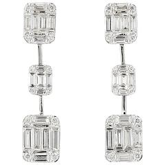 Baguette Diamond Gold Earrings
