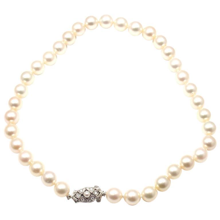 Mikimoto Cultured Graduated Akoya Pearl Diamond Gold Necklace
