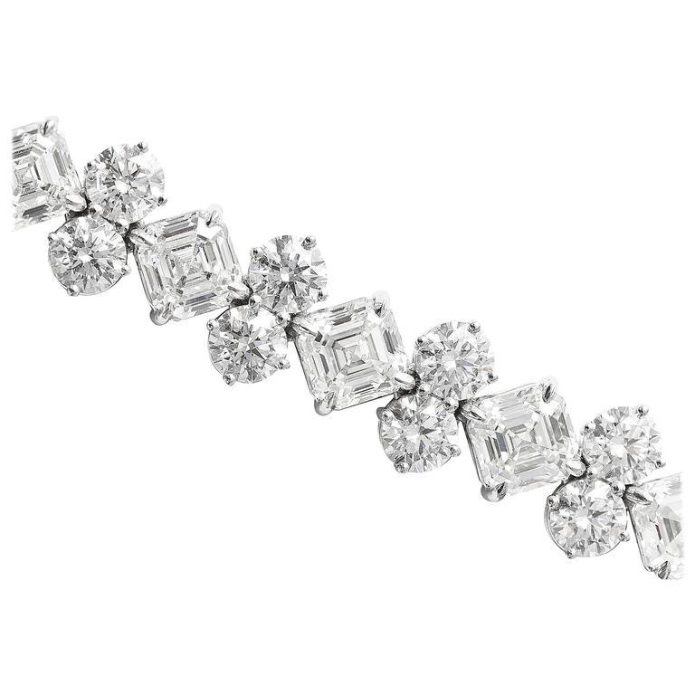 Asscher Cut and Round Diamond Platinum Bracelet