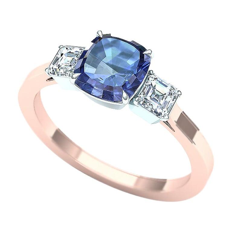 Cushion Cut Sapphire and Diamond Ring