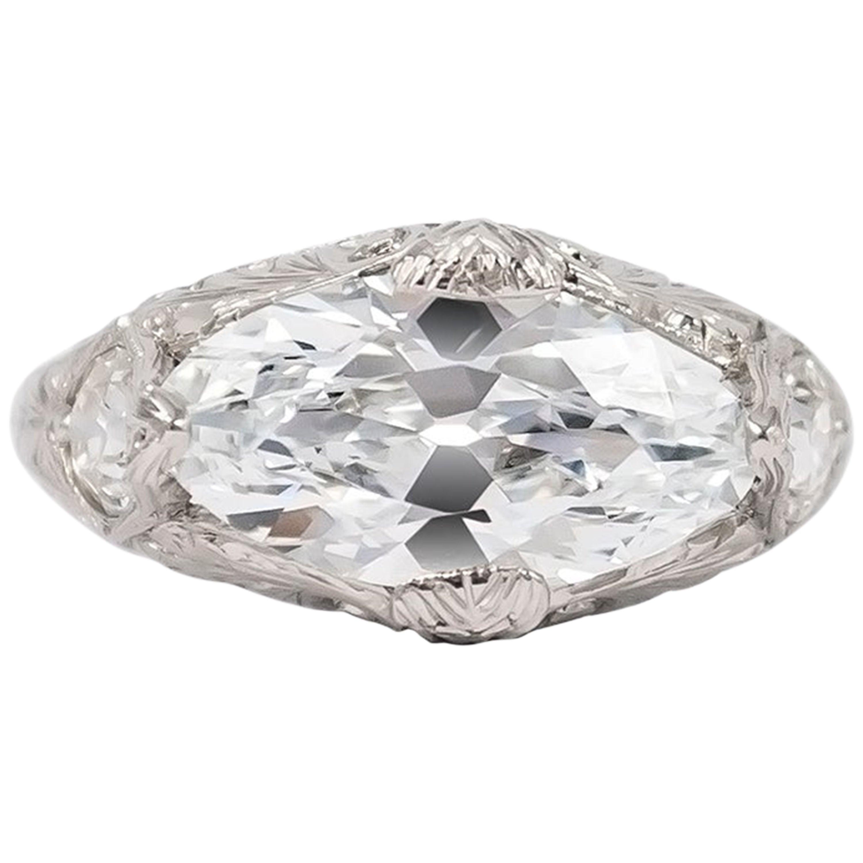 J. Birnbach GIA Certified E VVS2 2.52 Carat Antique Marquise Ring