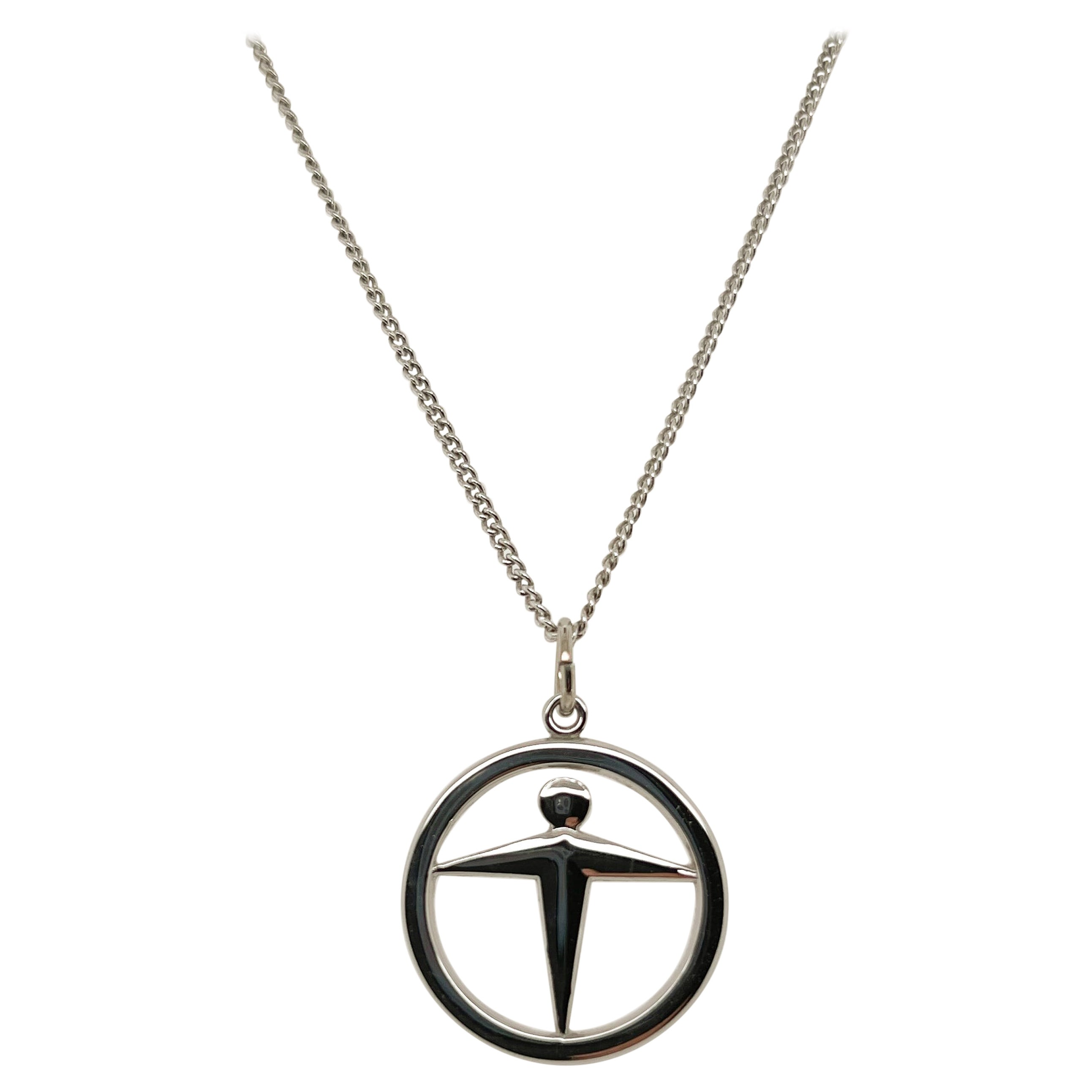 Vintage Signed Tiffany & Co. Manpower Sterling Silver Pendant Necklace