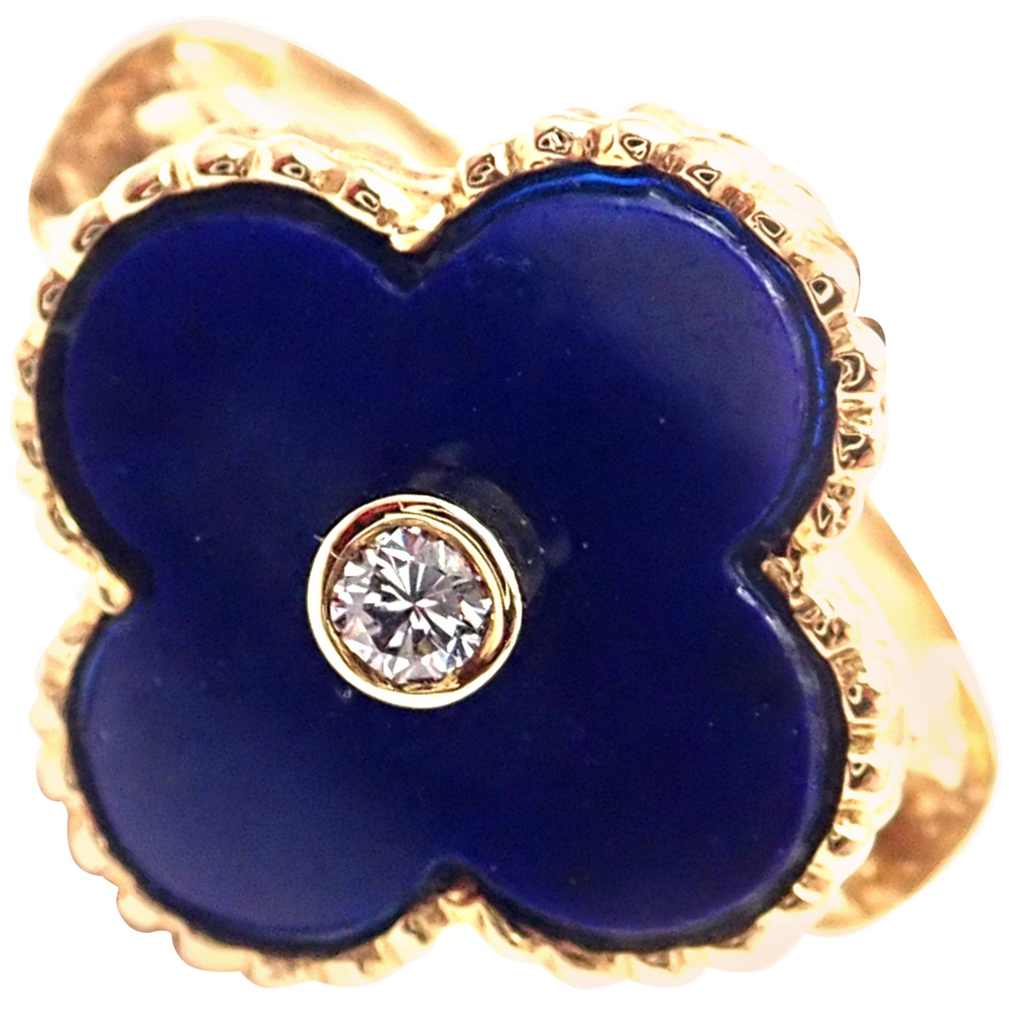 Van Cleef & Arpels Vintage Alhambra Lapis Lazuli Diamond Yellow Gold Ring