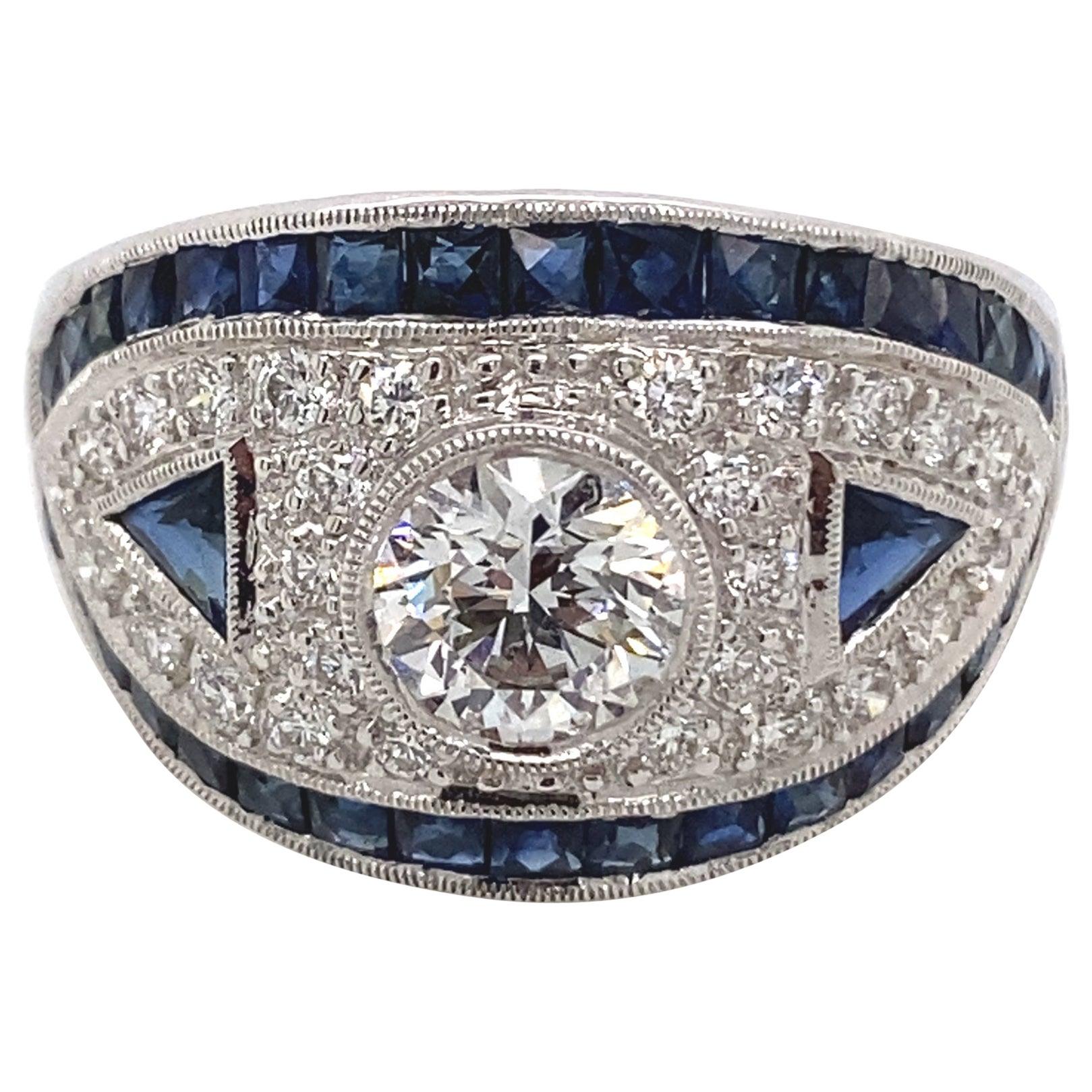 Art Deco Inspired Diamond with Sapphire Ring 18 Karat White Gold