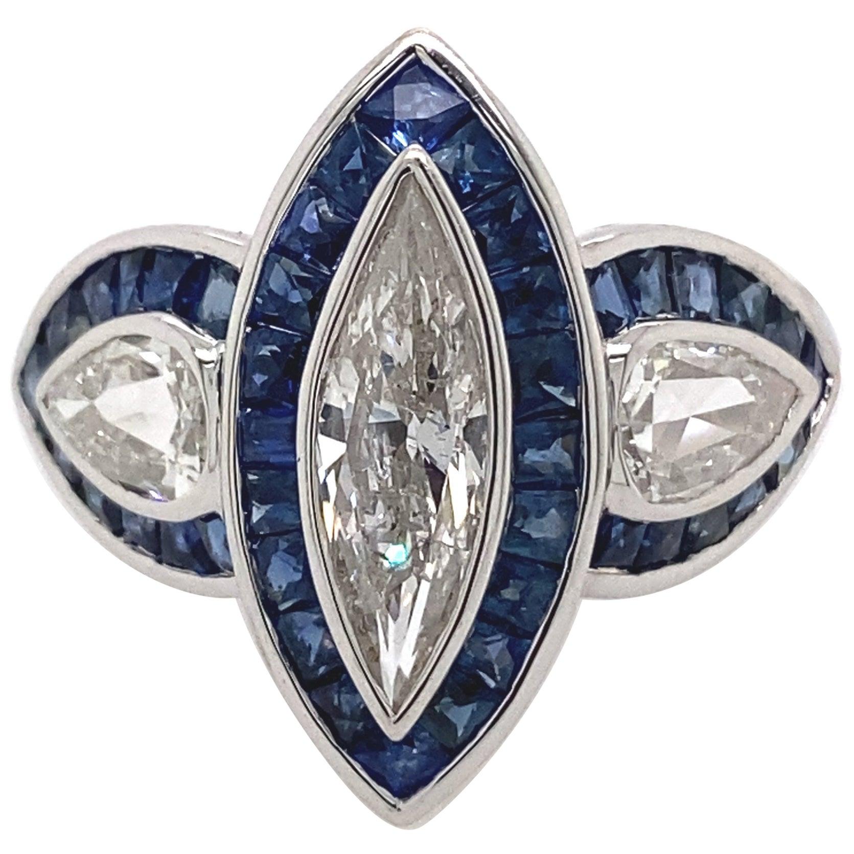 Art Deco Inspired Diamond and Sapphire Ring 18 Karat White Gold