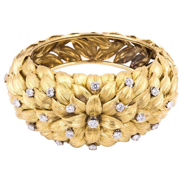 Diamond Gold Petals  Bracelet