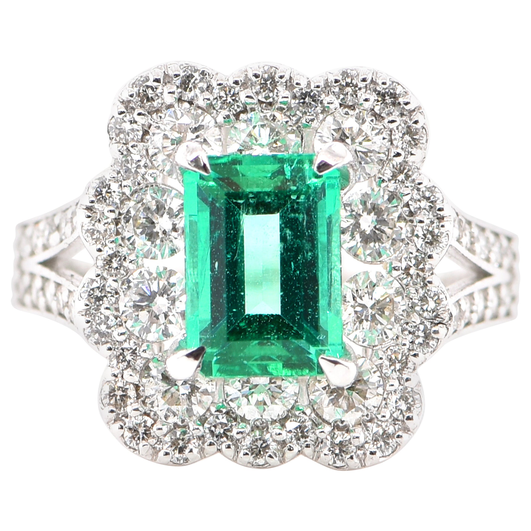 GIA Certified 1.23 Carat Natural, Colombian Emerald Ring Set in Platinum