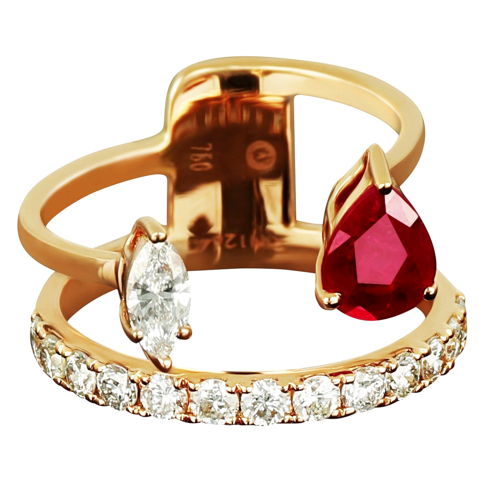 Amwaj Jewellery 18 Karat Rose Gold Ring with Ruby and Round Diamonds