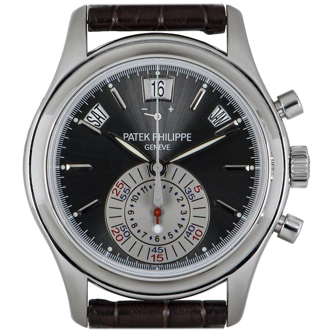 Patek Philippe Complications Annual Calendar Chronograph Platinum Grey Dial