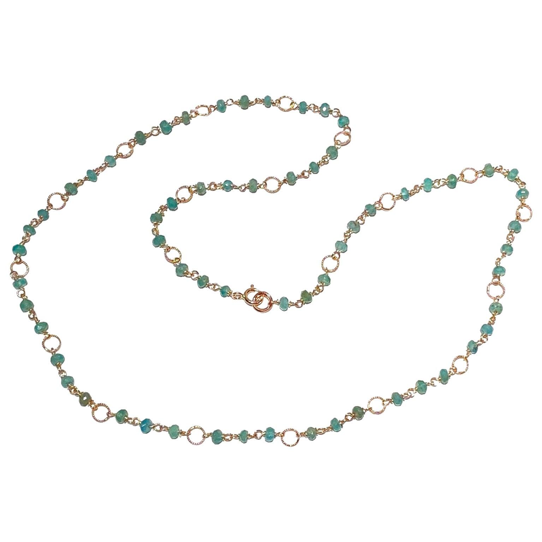 Ugolini 6.5Karat Emeralds 18Karat Yellow GoldTwisted Links Chain Beaded Necklace