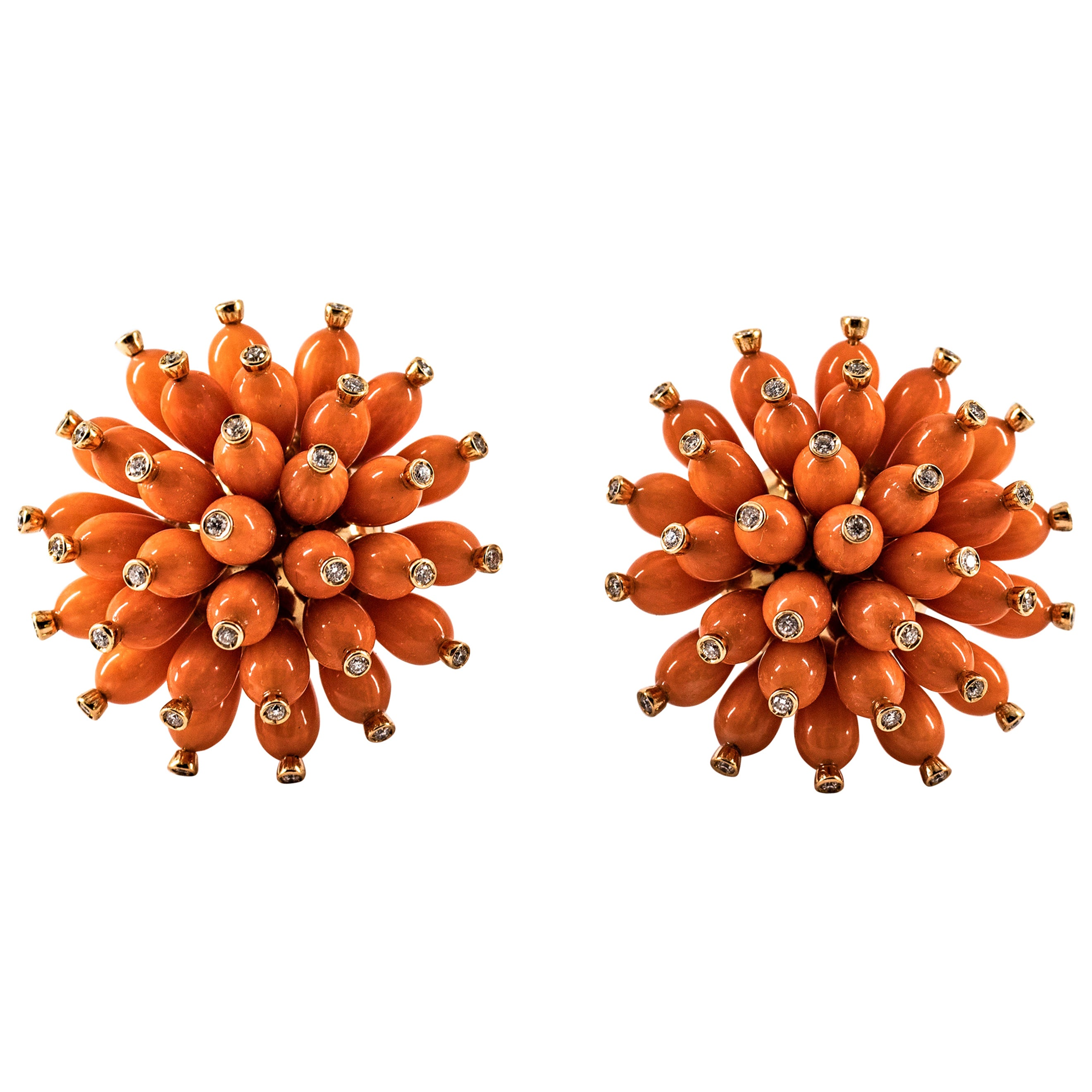 Handcrafted Mediterranean Peach Coral White Diamond Yellow Gold Dangle Earrings