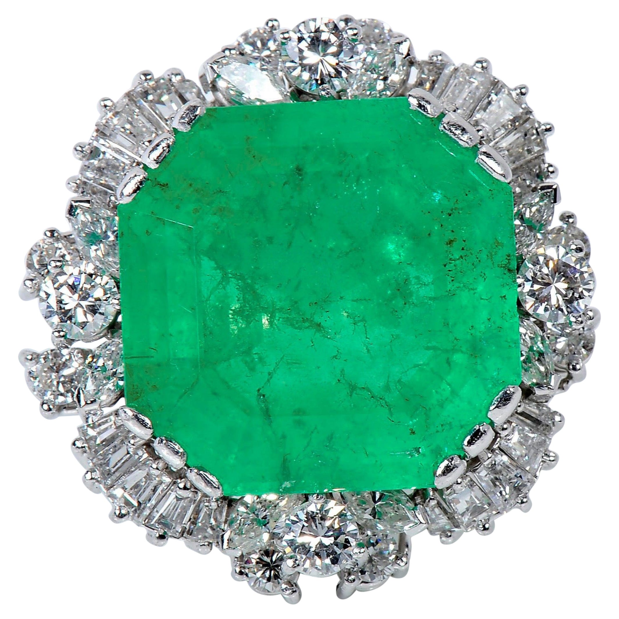 Certified 37.50 Carat Colombian Emerald Diamond Cocktail Ring White Gold