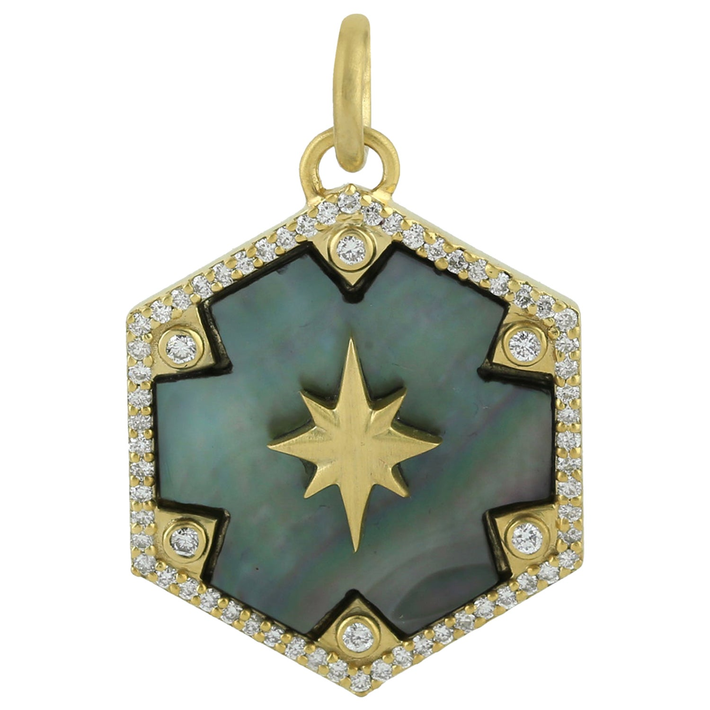 Mother of Pearl 14 Karat Gold Charm Diamond Pendant Necklace