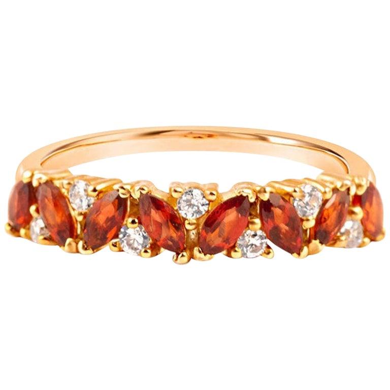14 Carat Gold and Diamond Garnet Cluster Engagement Ring, Garnet Gemstones Ring
