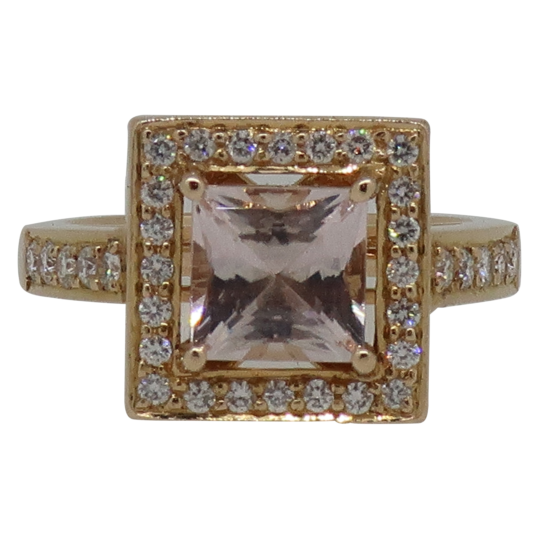 Square Morganite and Diamond Cluster Ring 18 Karat Rose Gold