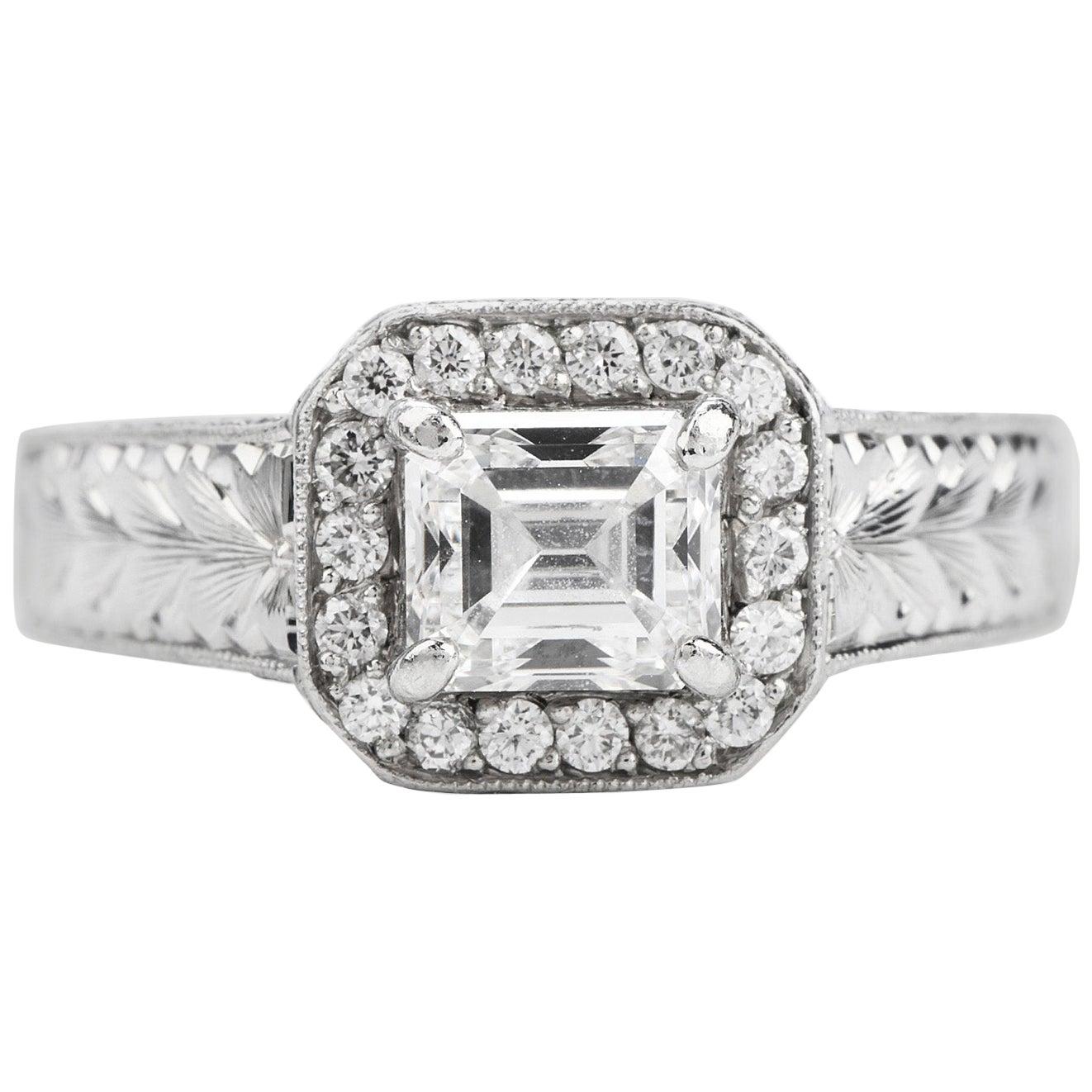 GIA 1.40 Carat F-VS2 Emerald Diamond Platinum Engagement Ring
