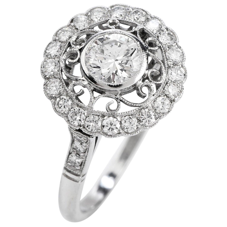 Diamond Platinum Round Cut Halo Engagement Ring