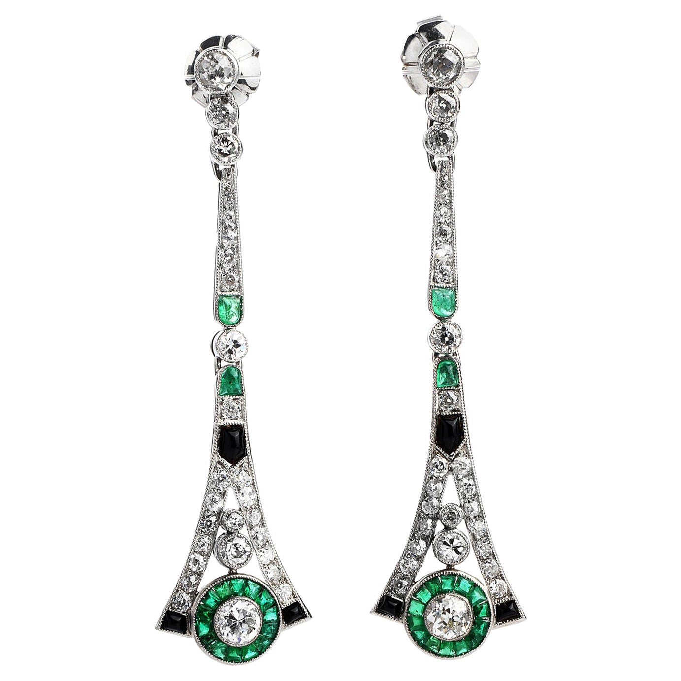 Diamond Emerald Platinum Dangle Long Earrings