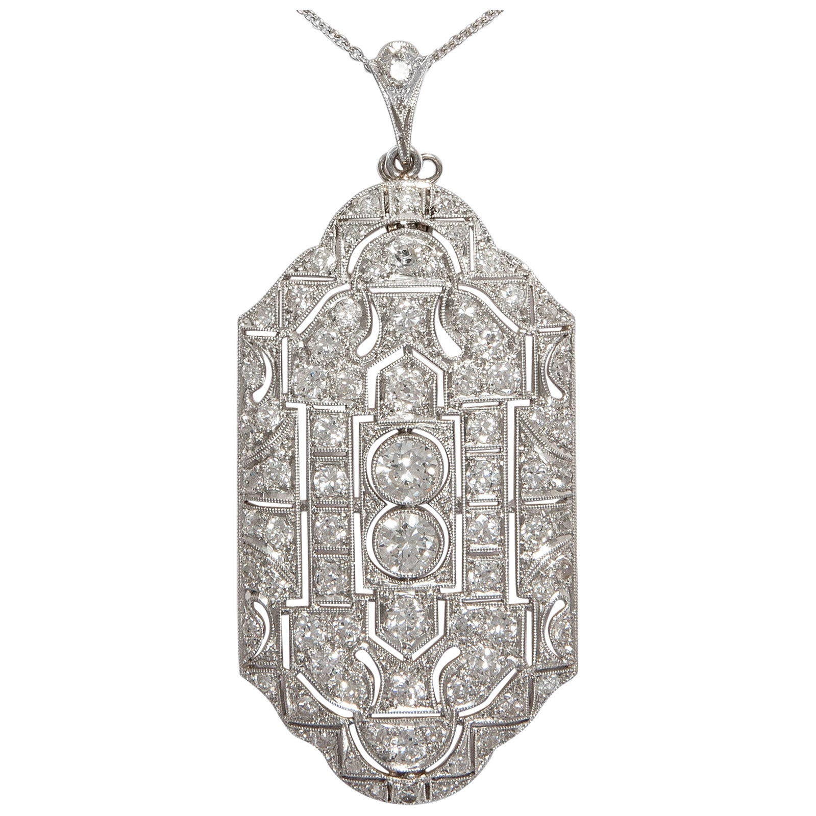 Antique Art Deco 1920s Certified 5.17 Carat Diamond Platinum Pendant Necklace