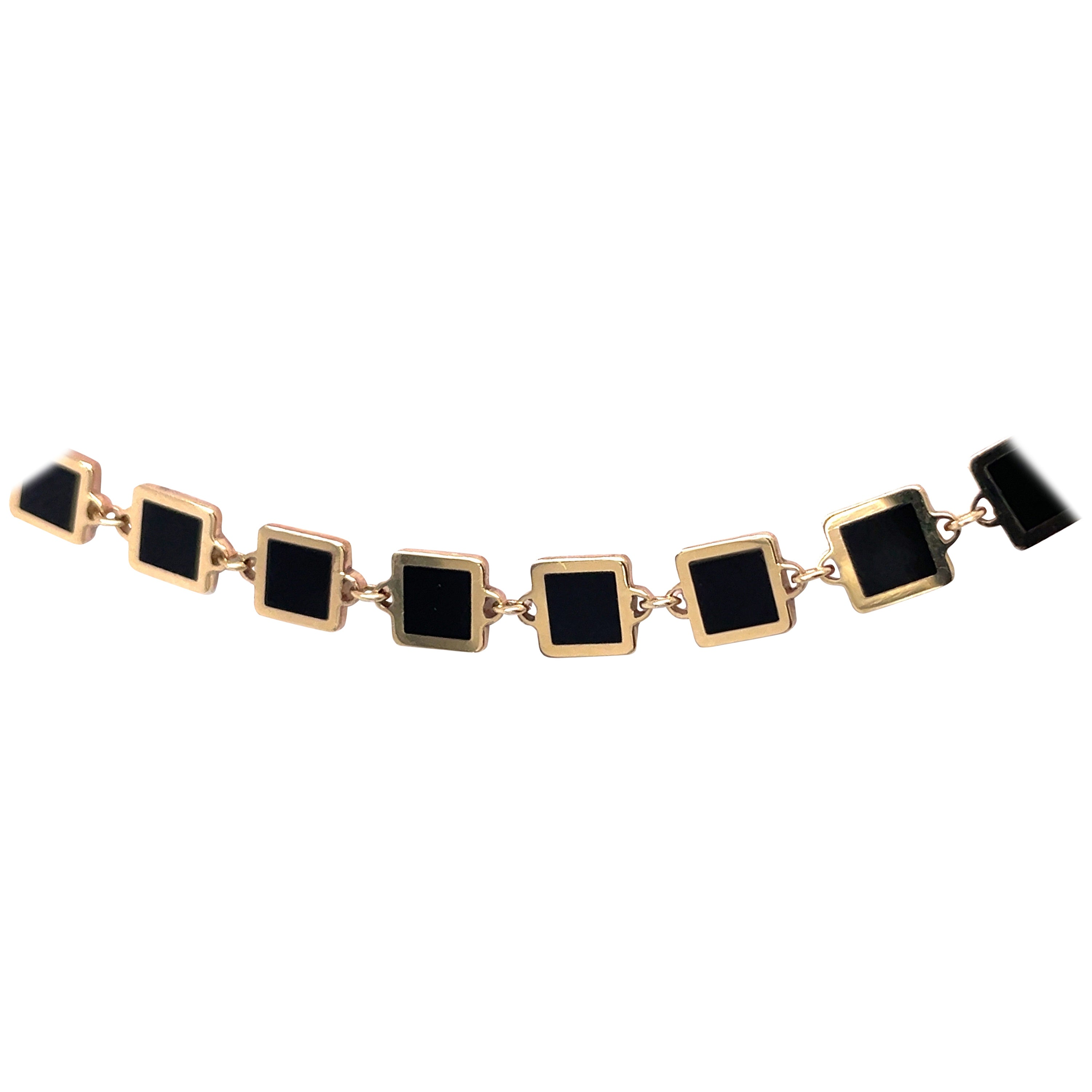 Harbor D. Italian Onyx Gold Trim Square Necklace 14 Karat Yellow Gold