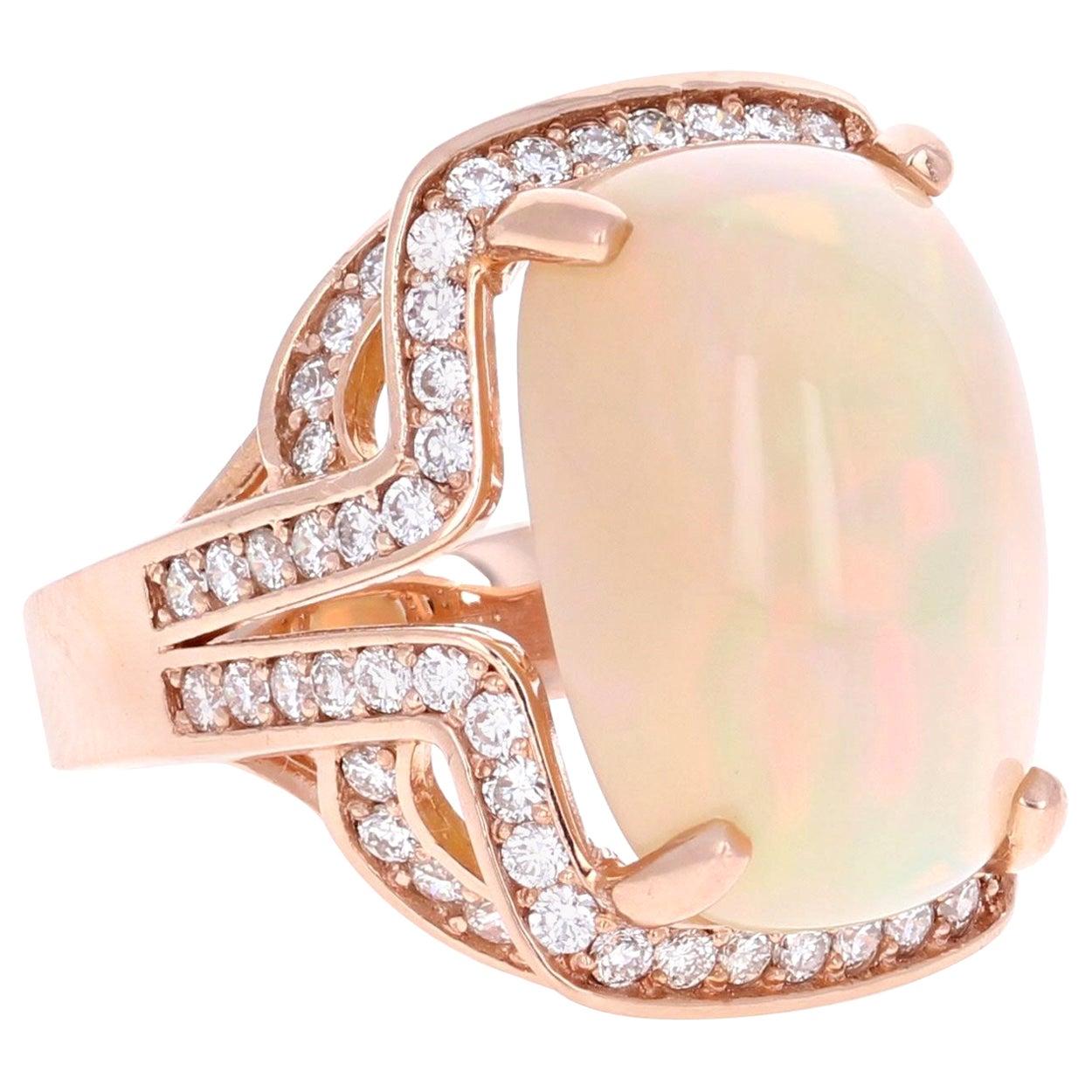 14.63 Carat Opal Diamond 14 Karat Rose Gold Statement Ring