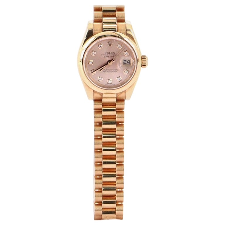 Rolex Oyster Perpetual Datejust Automatic Watch Rose Gold with Diamond Markers26