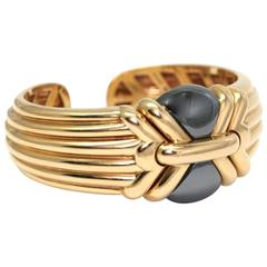 1980 Bulgari hematite gold bangle bracelet