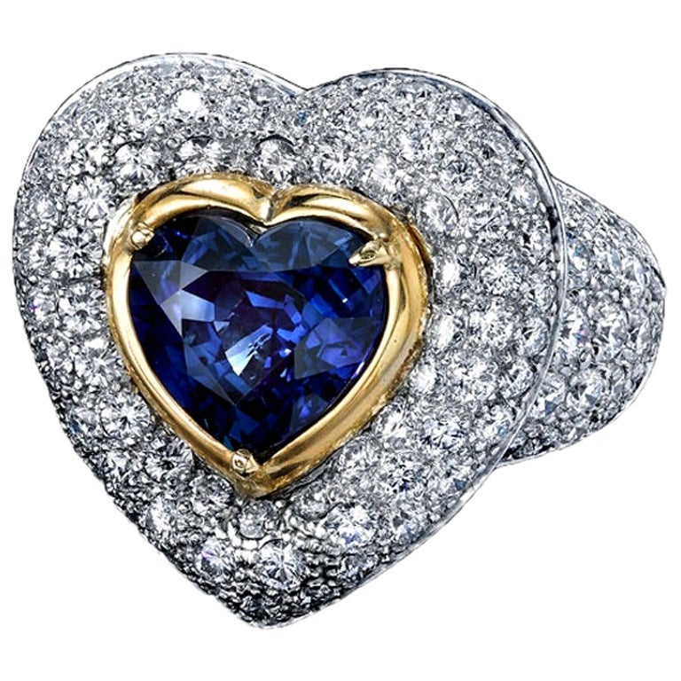 GIA Certified 3.90 Carats Blue Sapphire Heart Ring with Diamonds Platinum/18KYG