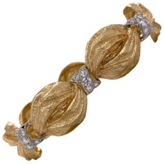 Diamond Platinum 18 Karat Yellow Textured Gold Bracelet New