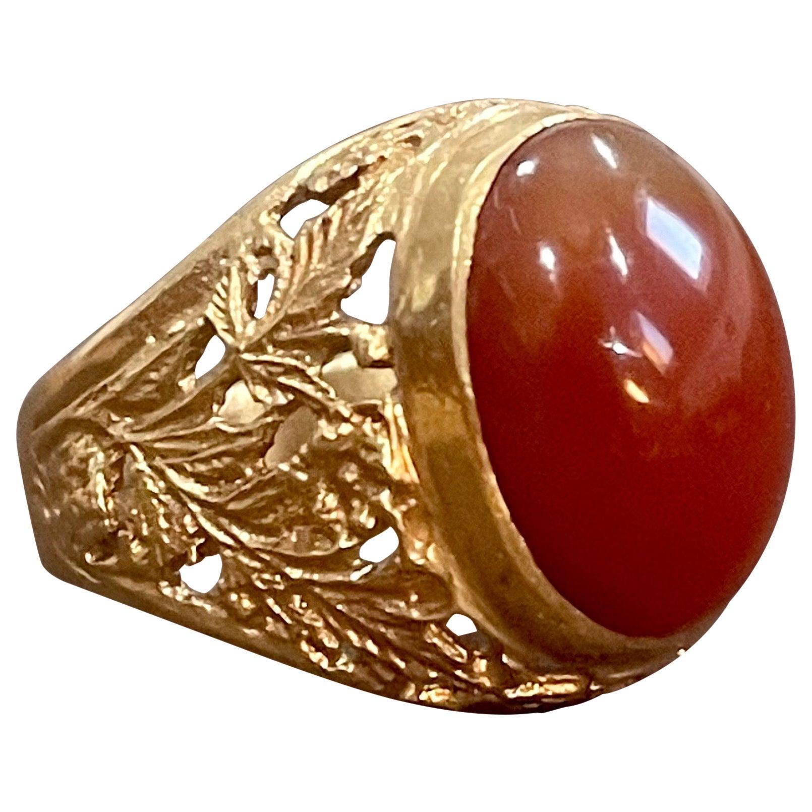 7 Carat Jasper Cabochon 18 Karat Yellow Gold Classic Wide Ring