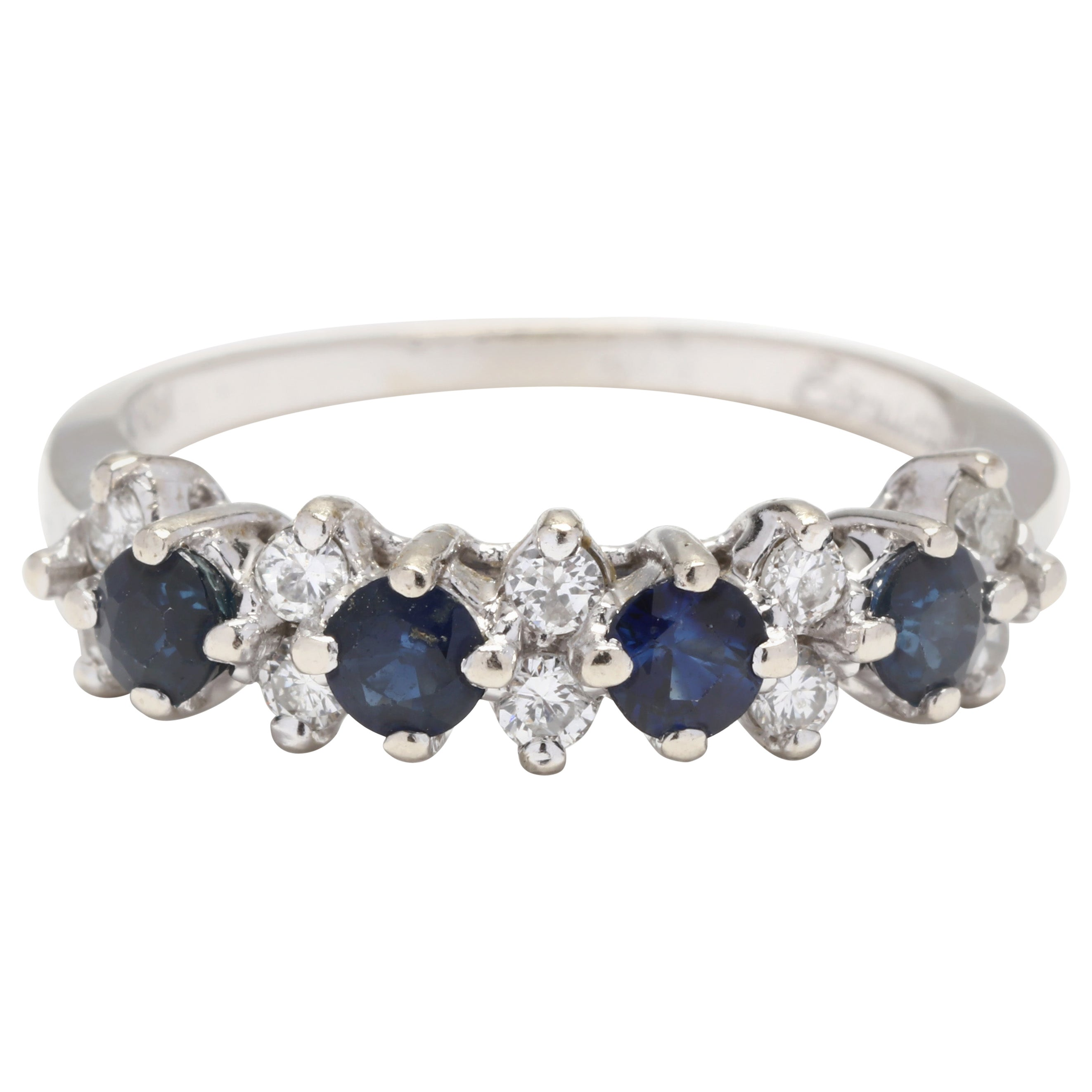 14 Karat White Gold, Sapphire and Diamond Stackable Band Ring