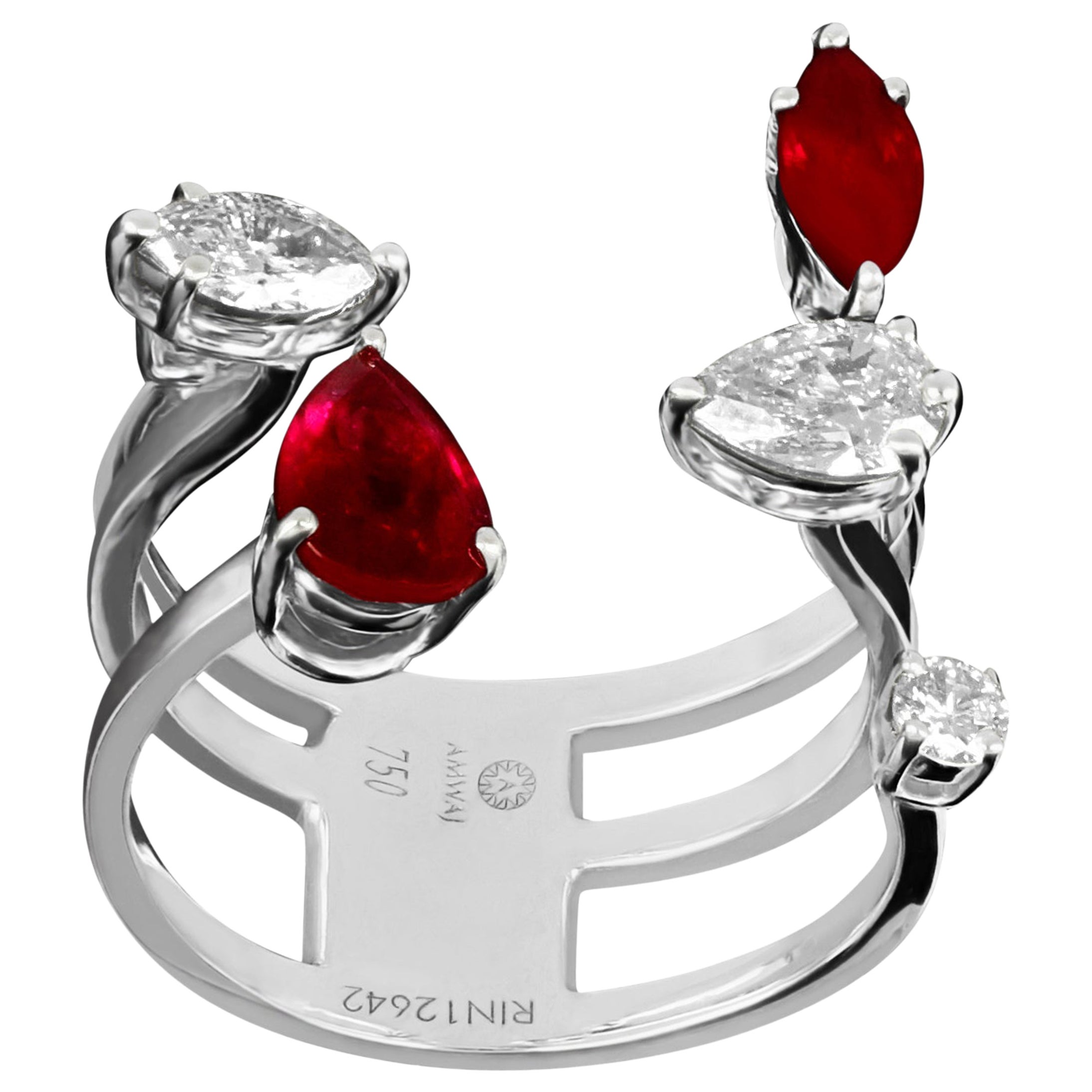 Amwaj Jewellery 18 Karat White Gold Ring with Ruby and Multi-Cut Diamond