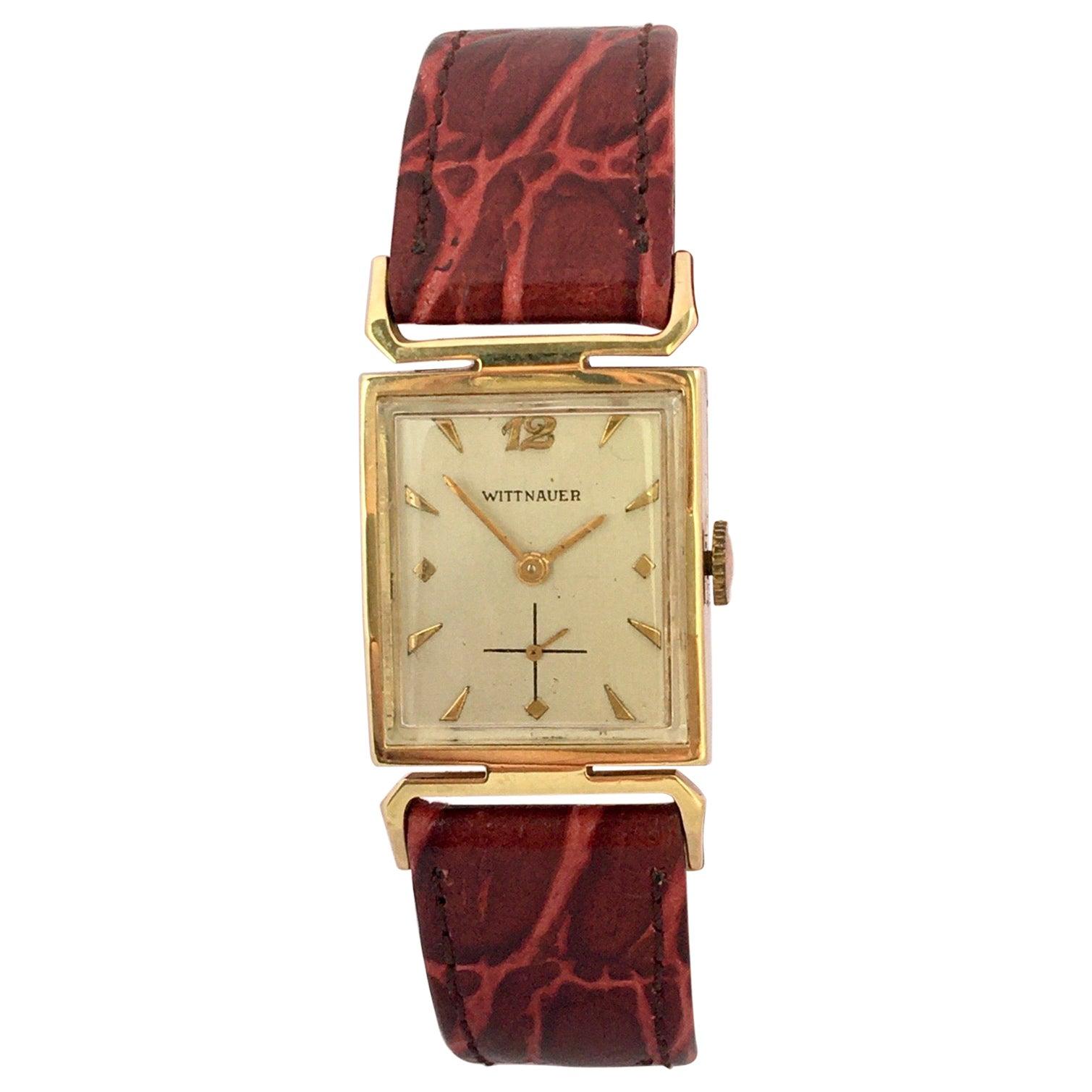 14 Karat Gold Vintage 1940s Wittnauer Mechanical Watch