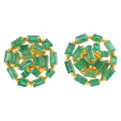 Emerald Baguette 18 Karat Yellow Gold Stud Earrings