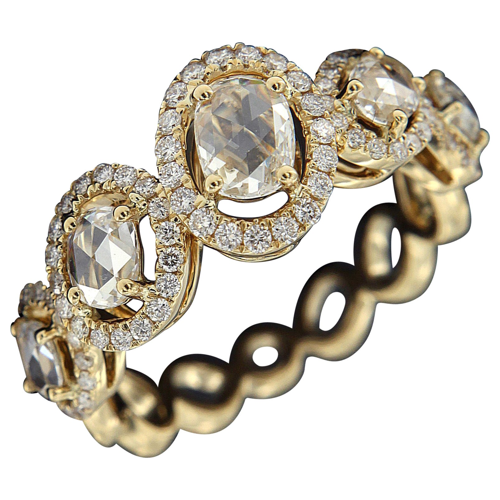 Valentine's Day Elegant 18 Karat Yellow Gold and Brown Rose Cut Diamond Ring