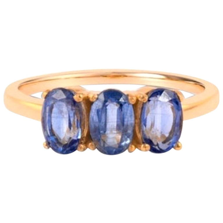 Blue Kyanite Ring in Gold, Ring, Solid Gold Ring, Rose Gold Ring 14 Karat
